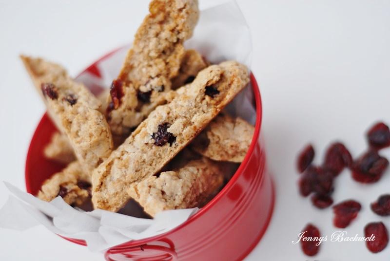 Lebkuchen Cantuccini mit Cranberries