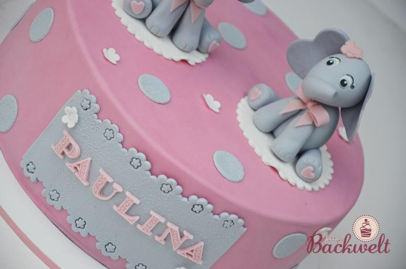 Baby Shower Torte mit Elefanten